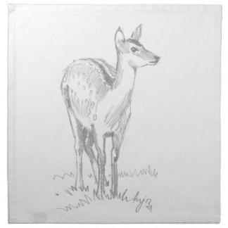Deer Drawing Printed Napkins