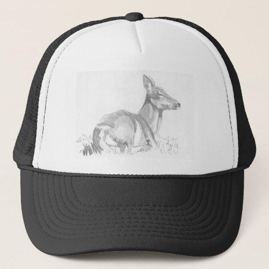 Deer Drawing Trucker Hat