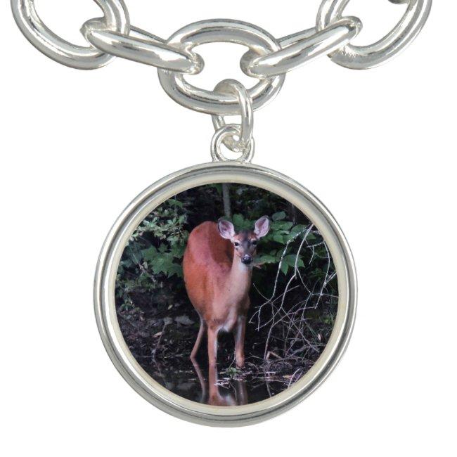 Deer Drinking at Forest Pond Charm Bracelet