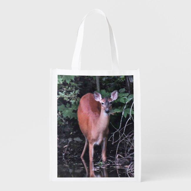 Deer Drinking at Forest Pond Reusable Tote Bag
