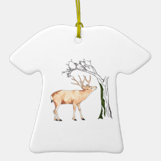 DEER EATING MOSS Double-Sided T-Shirt CERAMIC CHRISTMAS ORNAMENT