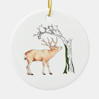 DEER EATING MOSS Double-Sided CERAMIC ROUND CHRISTMAS ORNAMENT