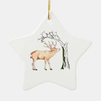 DEER EATING MOSS Double-Sided STAR CERAMIC CHRISTMAS ORNAMENT