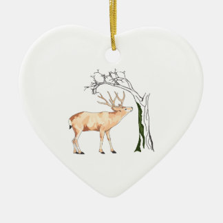 DEER EATING MOSS Double-Sided HEART CERAMIC CHRISTMAS ORNAMENT
