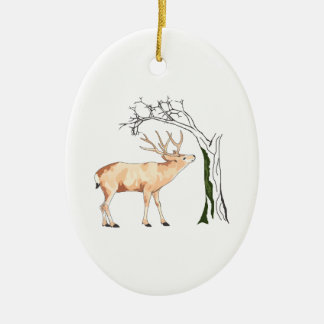 DEER EATING MOSS Double-Sided OVAL CERAMIC CHRISTMAS ORNAMENT