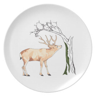 DEER EATING MOSS PARTY PLATES