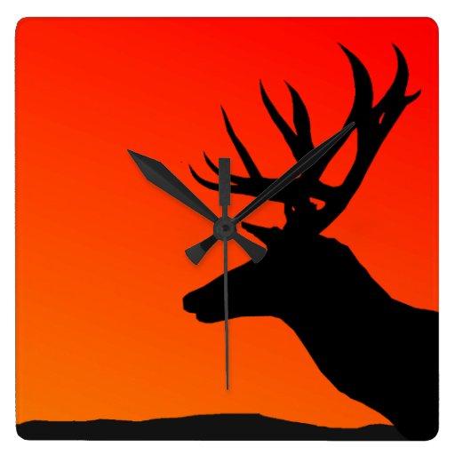 Deer Elk Silhouette Man Cave Design Square Wallclock