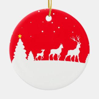 deer family adorno navideño redondo de cerámica
