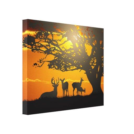 Deer Family Canvas Print