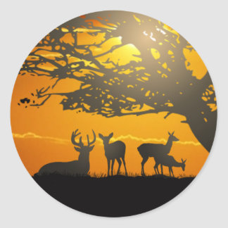 Deer Family Classic Round Sticker