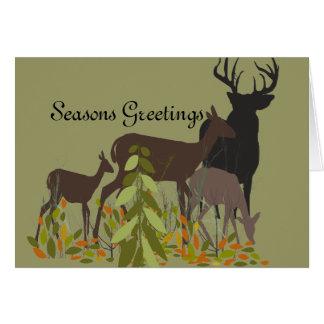 Deer Family Holidays Card