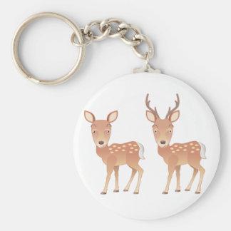 Deer Family Basic Round Button Keychain