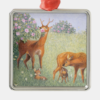 Deer Family Metal Ornament