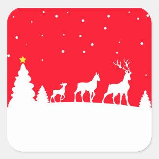 deer family pegatina cuadrada