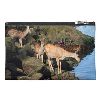 Deer Family with Twin Fawns by the Ocean Travel Accessory Bags
