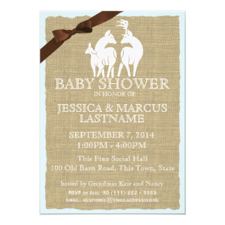 Deer Family Woodland Baby Shower 5x7 Paper Invitation Card
