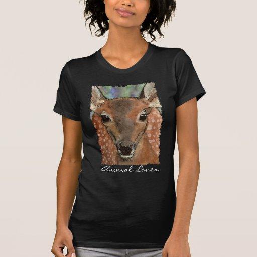 Deer Fawn Animal Lover Women's Destroyed Shirt