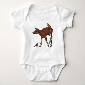 Deer, Fawn & Birds: Art in Oil Pastel Baby Bodysuit