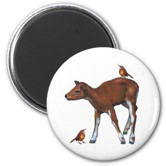 Deer, Fawn & Birds: Art in Oil Pastel Magnet
