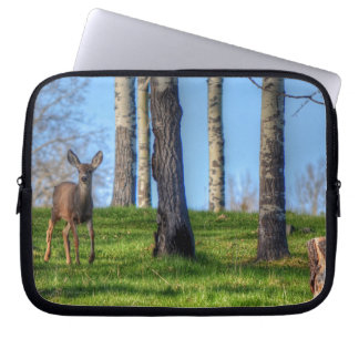 Deer Fawn & Forest Trees Wildlife Animal Photo Laptop Sleeve
