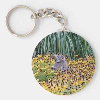 Deer Fawn in Flower Garden Keychain
