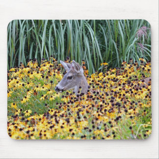 Deer Fawn in Flower Garden Mouse Pad