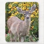 Deer Fawn in Flower Garden Mousepads