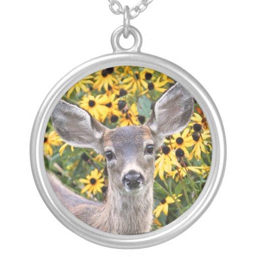 Deer Fawn in Flower Garden Personalized Necklace