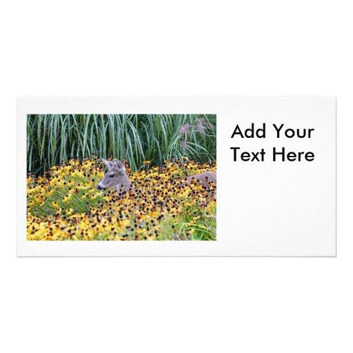 Deer Fawn in Flower Garden Photo Card Template
