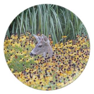 Deer Fawn in Flower Garden Dinner Plates