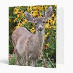 Deer Fawn in Flower Garden Vinyl Binder