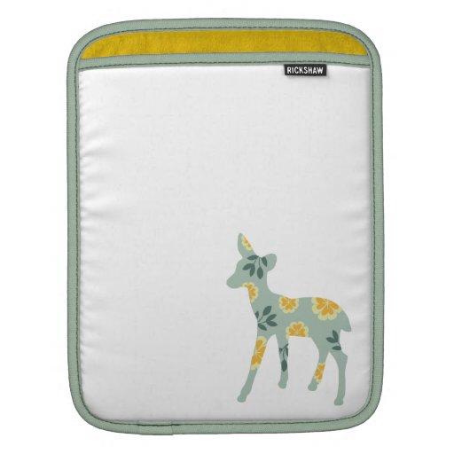 Deer fawn nature pattern silhouette cute folk art iPad sleeves