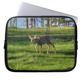 Deer Fawn & Ranch Grass Wildlife Animal Photo Laptop Sleeve