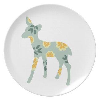 Deer fawn silhouette cute folk art nature pattern dinner plate