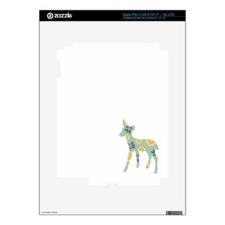 Deer fawn silhouette cute folk art nature pattern decal for iPad 3