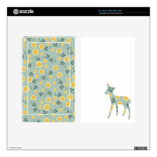 Deer fawn silhouette cute folk art nature pattern skins for kindle fire