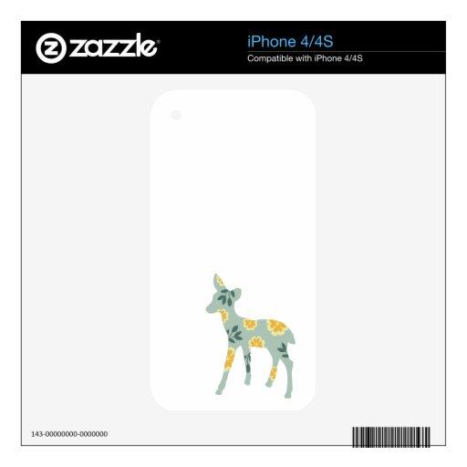 Deer fawn silhouette nature cute folk art pattern iPhone 4 skins