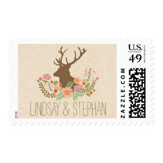 deer floral antlers rustic wedding postage stamps