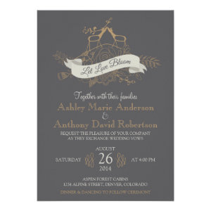 Deer Floral Mountain Woodsy Alpine Wedding Personalized Invitations