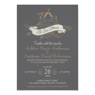 Deer Floral Mountain Woodsy Alpine Wedding 5x7 Paper Invitation Card