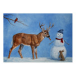 Deer & Funny Snowman Christmas Large Business Cards (Pack Of 100)