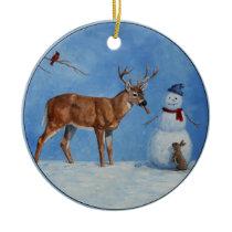 Deer & Funny Snowman Christmas Ceramic Ornament