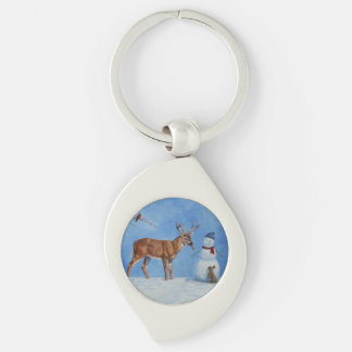 Deer & Funny Snowman Christmas Silver-Colored Swirl Metal Keychain