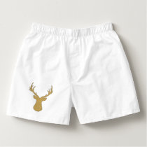 Deer - geometric pattern - beige and white. boxers