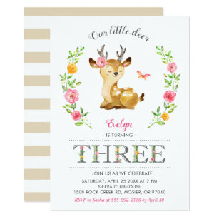 60 off floral deer birthday invitations shop now to save zazzle