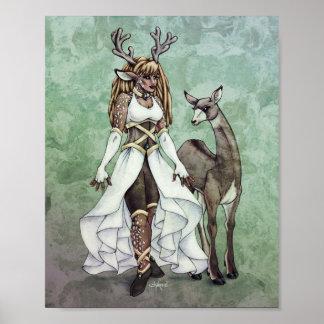 Deer Goddess Fantasy Art 8x10 Print