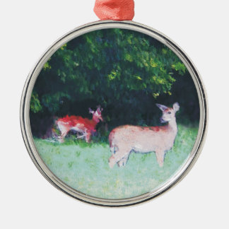 deer grazing...digitally enhanced metal ornament