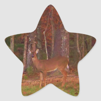 Deer , Green Grass red and Gold leaves Stickers