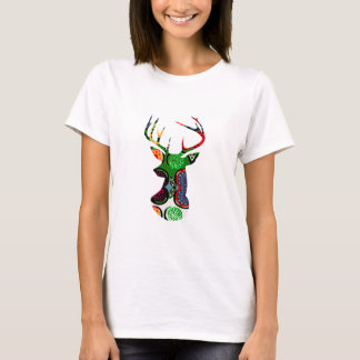 deer head antler christmas holiday modern colors T-Shirt