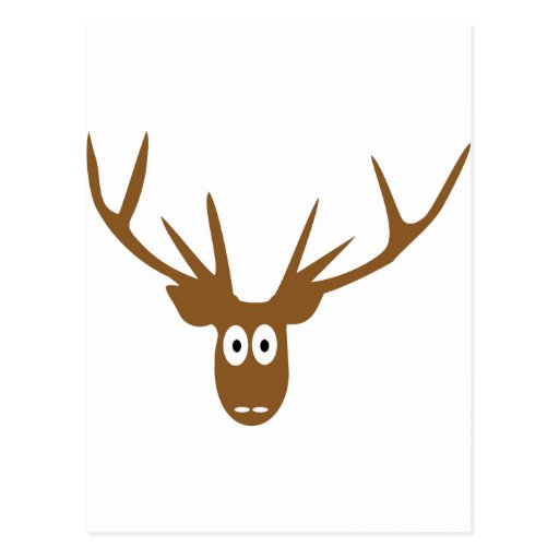 deer head antler postcard